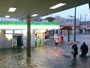雨による冠水